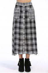 Single-Breasted Checked Skirt -
