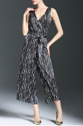 Loose Belted Striped Wide Leg Jumpsuit -
