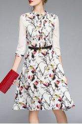 Three Quarter Sleeve Printed Belted Dress -