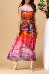 Scoop Neck Colorful Beach Dress - COLORMIX