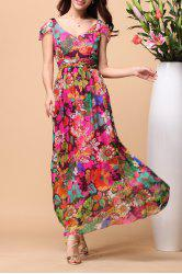 V Neck Floral Print Silk Beach Dress - COLORMIX