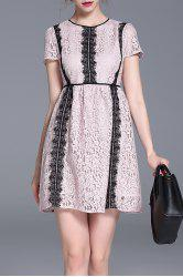 High Waisted Lace Mini Dress -