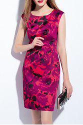Round Neck Sleeveless Print Sheath Dress -