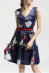 Floral Print Insect Beaded Dress -