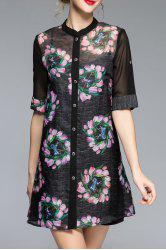Half Sleeve Button Front Printed Blouse -