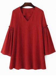 Stylish V Neck Flare Sleeve Solid Color Chiffon Women's Dress -