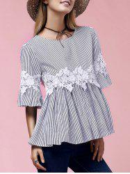 Stylish Flare Sleeve Round Neck Lace Embellished Women's Blouse
