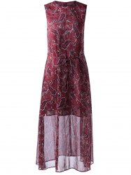 Retro Style Round Collar paisley Printing Dress With Sleeveless For Women - WINE RED