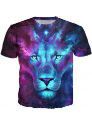 Round Neck 3D Color Block Lion Print Galaxy T-Shirt - Multicolore