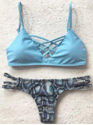 Spaghetti Straps Printed Bikini Set For Women - LIGHT BLUE L