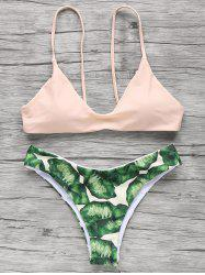 Palm Tree Spaghetti Straps Bikini - LIGHT APRICOT PINK L