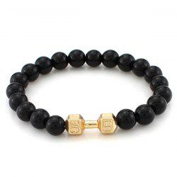 Stylish Polished Beads Dumbbell Shape Bracelet - GOLDEN