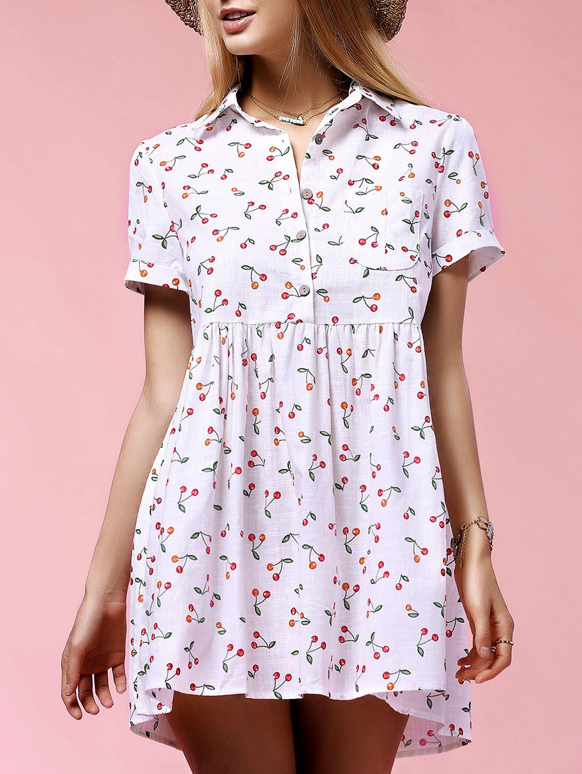 Store Sweet Short Sleeve Cherry Print Women's Mini Dress