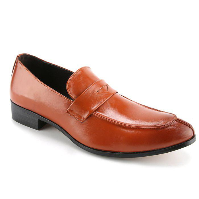 Concise Solid Color et PU Leather Design Formal Shoes For Men