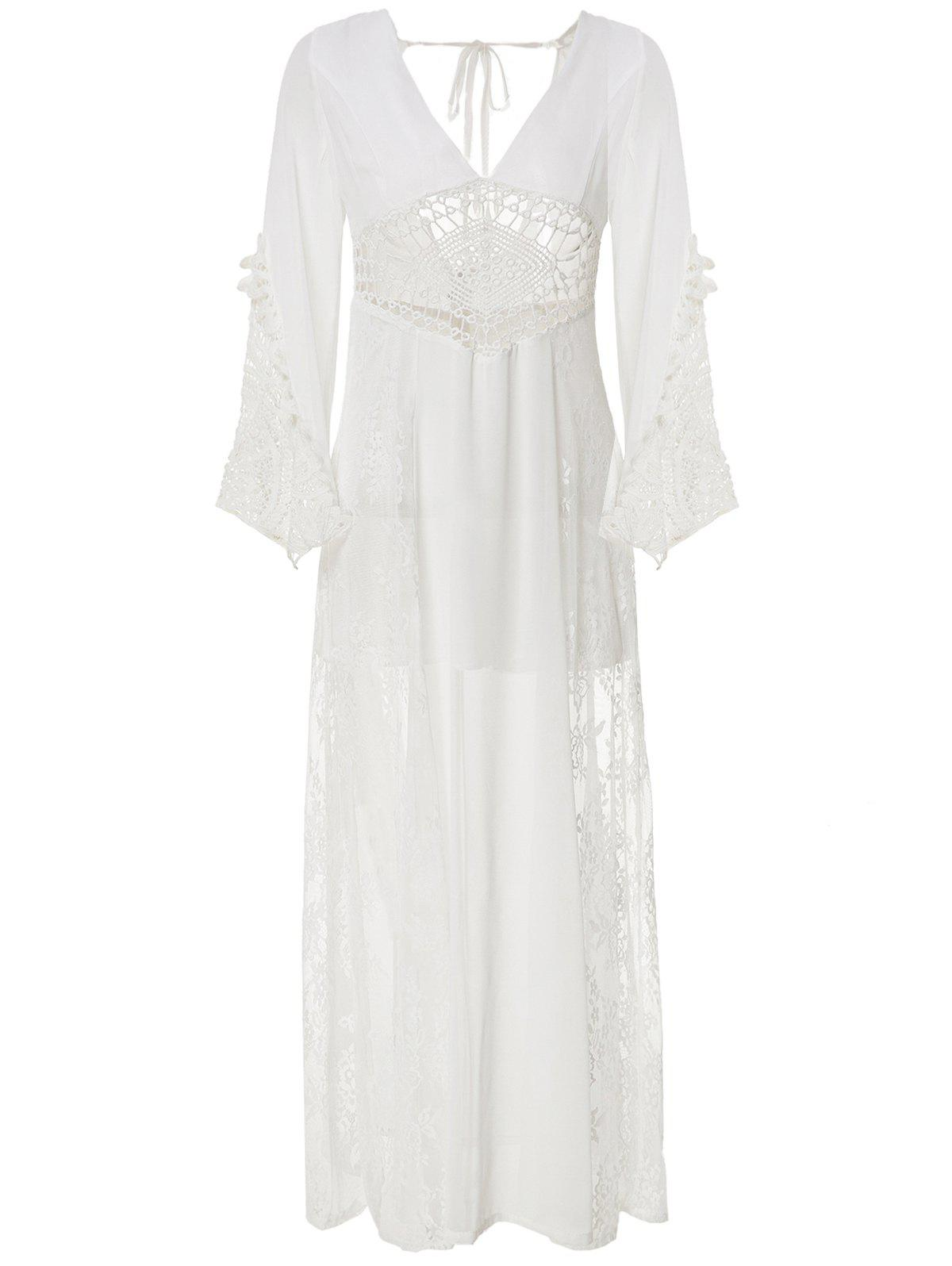 Store Alluring Plunging Neck Hollow See-Through Long Sleeve Dress For Women