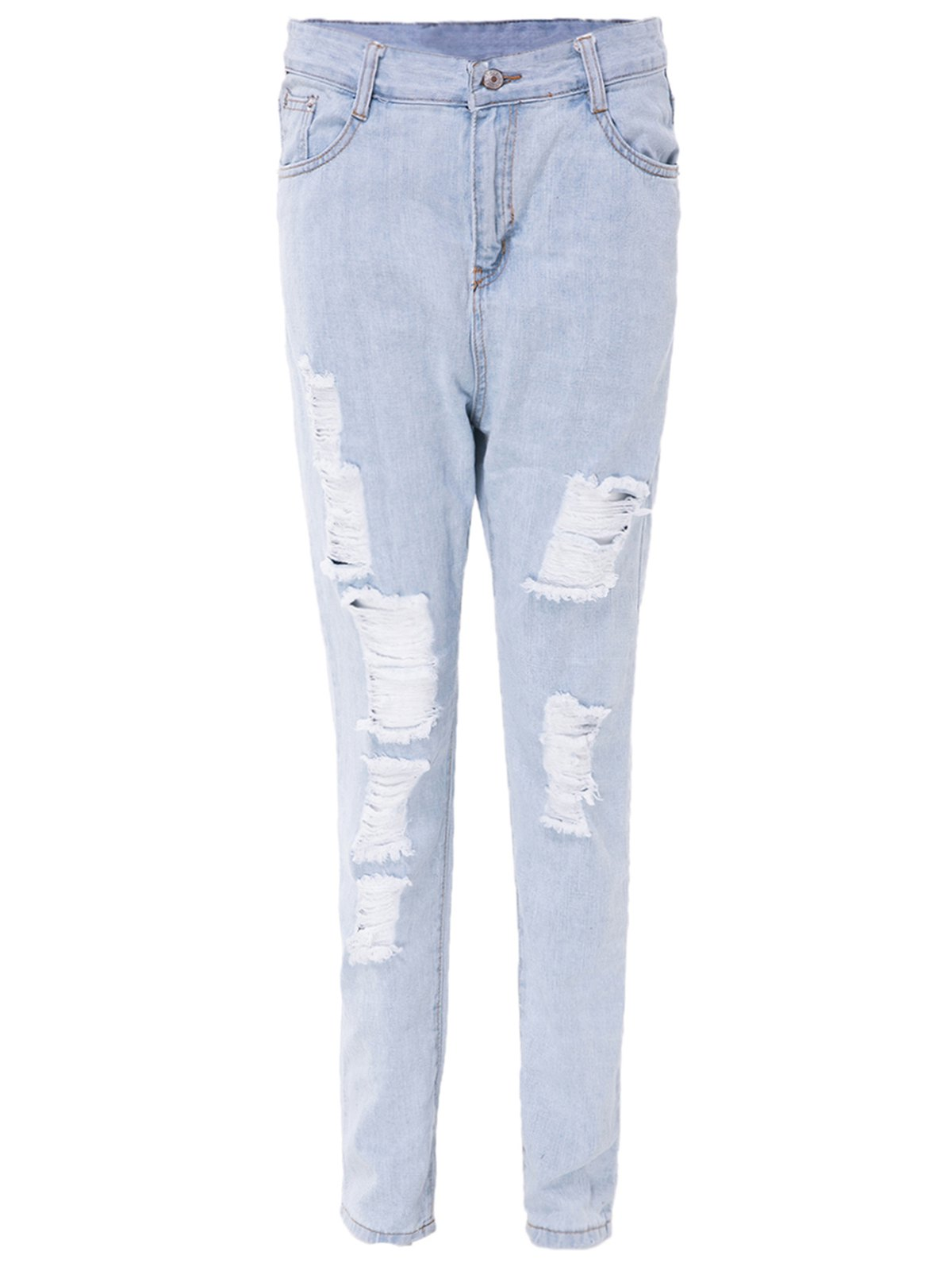 Fancy High Waisted Distressed Skinny Jeans