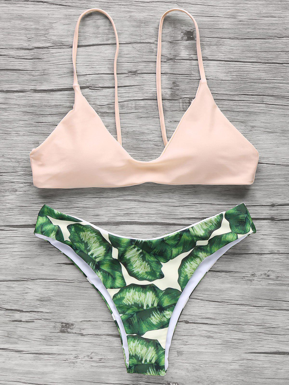 Palm Tree Spaghetti Straps BikiniWOMEN<br><br>Size: M; Color: LIGHT APRICOT PINK; Swimwear Type: Bikini; Gender: For Women; Material: Polyester; Bra Style: Padded; Support Type: Wire Free; Neckline: Spaghetti Straps; Pattern Type: Print; Waist: Natural; Elasticity: Elastic; Weight: 0.2700kg; Package Contents: 1 x Bra  1 x Briefs;