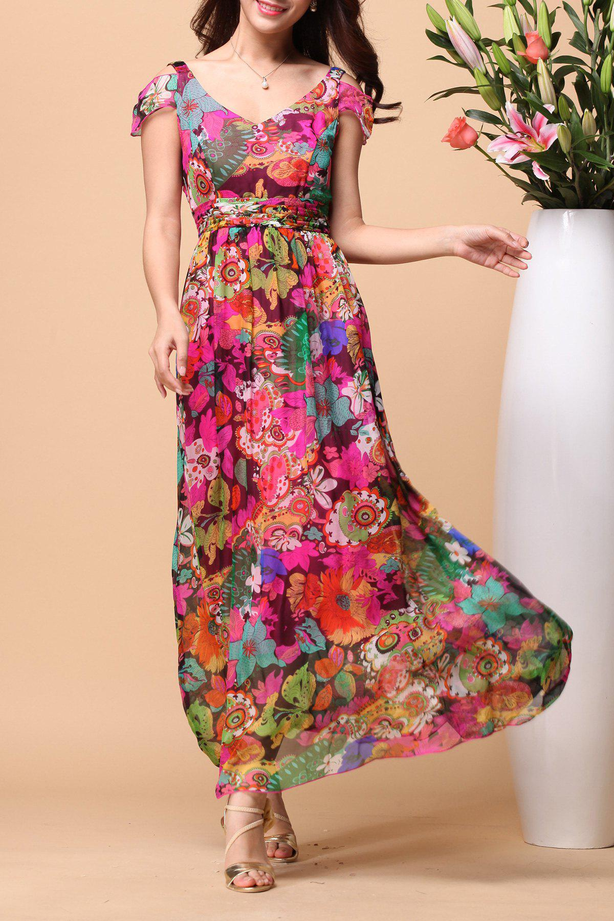 Store Backless Floral Short Sleeve Maxi Swing Summer Dress