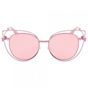 Stylish Cut Out Street Fashion Sweet Pink Cat Eye Mirrored Sunglasses For Women -