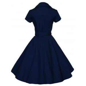 Vintage V-Neck Pure Color Short Sleeve Ball Dress For Women -