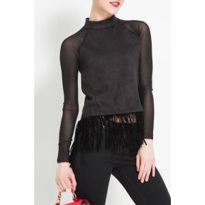 Fringed Pure Color Blouse -