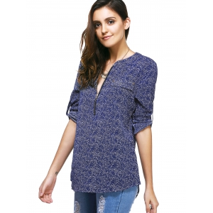 Casual 3/4 Sleeve Zipper Fly Embellished Women's Print Blouse - DEEP BLUE S