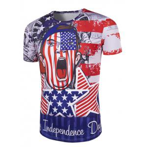 Round Neck The Stars and The Stripes Cartoon Print Short Sleeve T-Shirt For Men - COLORMIX M