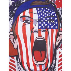 Round Neck The Stars and The Stripes Cartoon Print Short Sleeve T-Shirt For Men - COLORMIX 2XL