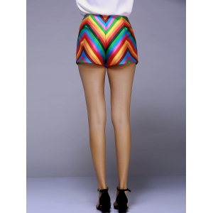 Fashionable Stripe Color Printing A Font Shorts For Women -