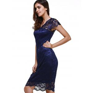 Sweet Short Sleeve V-Neck Women's Lace Dress -