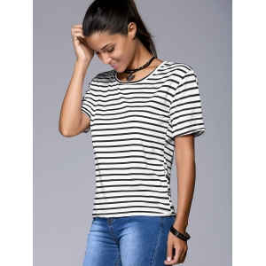 Refreshing Women's Striped Short Sleeve T-Shirt -