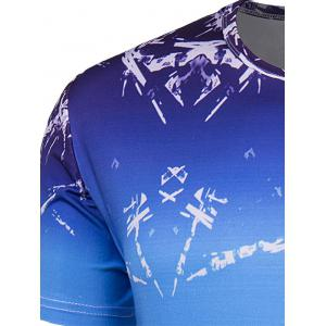 Slim Fit Round Collar Ice Cube Printing T-Shirt For Men - BLUE M
