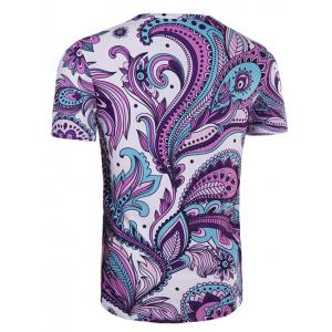 Round Neck Ethnic Style Paisley Print Short Sleeve T-Shirt For Men -