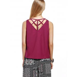 Chic Women's Cut Out Pure Color Tank Top -