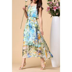 Scoop Neck Floral Elastic Waist Beach Dress -
