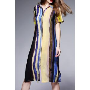 Hit Color Silk Shirt Dress -