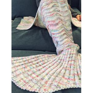 Comfortable Multicolor Knitted Throw Mermaid Tail Design Blanket For Adult - OFF WHITE