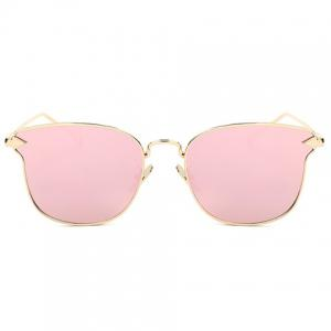 Stylish Classic Flash Lens Metal Golden Cat Eye Mirrored Sunglasses For Women - PINK