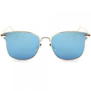 Stylish Classic Flash Lens Metal Golden Cat Eye Mirrored Sunglasses For Women - ICE BLUE