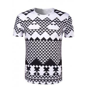Round Neck Irregular Geometric Print Short Sleeve T-Shirt For Men - White And Black - M