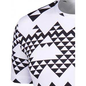 Round Neck Irregular Geometric Print Short Sleeve T-Shirt For Men - WHITE AND BLACK 2XL