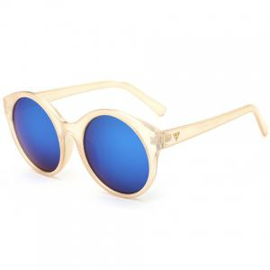 Stylish Round Flash Lens Solid Color Frame Mirrored Sunglasses For Women