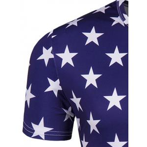 Round Neck The Stars and The Stripes Print Short Sleeve T-Shirt For Men - COLORMIX 2XL