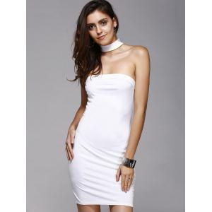 Charming Cut Out Solid Color Skinny Slimming Women's Dress -
