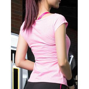 Short Sleeves Dot Pattern Running Gym T-Shirt -