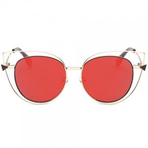 Stylish Cut Out Street Fashion Two Color Match Cat Eye Mirrored Sunglasses For Women -