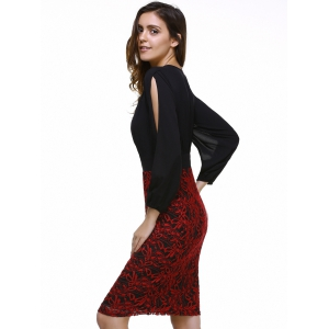 Fashionable Plunging Neck Lace Splicing Split Sleeve Dress For Women -