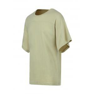 Cotton Solid Color Round Neck Short Sleeve T-Shirt -