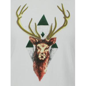 Cotton 3D Elk Embroidery Round Neck Short Sleeve T-Shirt -