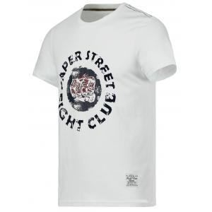 Cotton 3D Fist and Letter Print Round Neck Short Sleeve T-Shirt - WHITE 2XL